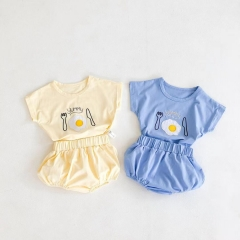 New arrival baby summer fried egg print sets wholesale