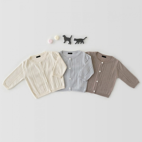spring summer baby girl sweet breathable cotton soft solid cardigan wholesale