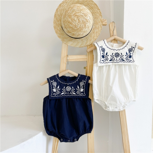 In Stock Fast Dispatch Baby Summer Sleeveless Soft Cotton Baby Rompers Cute Embroidery Baby Girl Romper Clothes Wholesale
